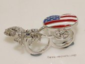 FSR002  Flag Carriage Double Finger Silver Tone Alloy  Adjustable Ring