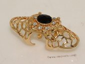 FSR006 Gold Tond  Ally Hollow Out Joint Hinged Full Finger Ring  with Zircon Beads