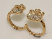 FSR011  Double Finger Gold Tond  Ally  Ring  Fashion  Jewelry