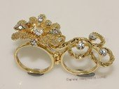FSR012  Double Finger Gold Tond  Ally  Flower  Ring  Fashion Jewelry