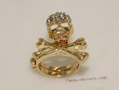 FSR015 Skull Design Gold Tone Alloy Finger  Ring