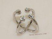 FSR021 Silver Toned Ally Finger  Twist Ring With Zircon Beads