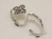 FSR024 Double Finger Silver Tone Alloy Adjustable Ring In Flower Design