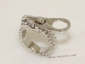 FSR027 Silver Toned Ally Finger Ring Zipper Zip gothic Punk Rock Design