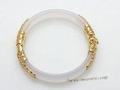 Gbr049 Elegant White Color Agate Bangle Bracelet