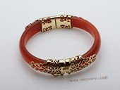 Gbr050 Elegant Wine Red Color Agate Bangle Bracelet