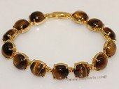 gbr061 Gold Toned  10mm  tiger eyes Bangle Bracelet