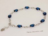 Gbr062 Sterling Silver Link  oval shape Blue Gemstone Bracelet