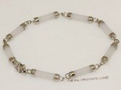 Gbr064 Sterling Silver Chain Bracelet With White Jade