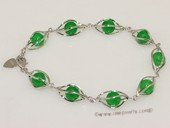 Gbr065 Sterling Silver Round Shape Green Jade Bangle Bracelet