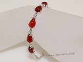 Gbr066 Sterling Silver Tear Drop Shape Red Agate Wrist Bracelet