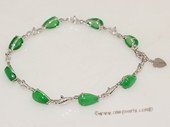 Gbr068 Sterling Silver Tear Drop Shape Green Jade Wrist Bracelet