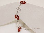 Gbr069 Sterling Silver Circle Shape Red Agate Wrist Bracelet