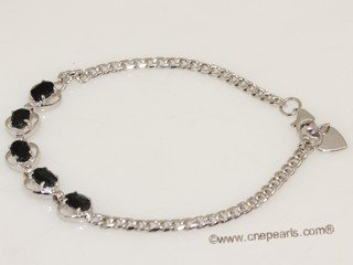 Gbr071 Sterling Silver Oval Shape Man Made Gemstone Wrist Bracelet