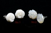 Gse075 White Coral Carved Flower Sterling Silver Stud Earrings
