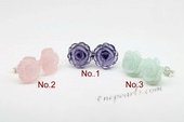 Gse076 Pretty Carved Flower Gemstone Sterling Silver Stud Earrings