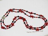 Ipn001 Style Red coral and Agate seed Bead Layer Island Necklace