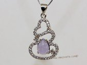 Jp038 Silver Tone Purple Gemstone Pendant with Zircon Beads