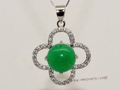 Jp039 Silver Tone Green  Gemstone Pendant with Zircon Beads