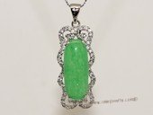 Jp040 Silver Tone Green Gemstone Pendant with Zircon Beads