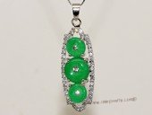 Jp041 Green Color Gemstone pendants With Silver Tone Fitting