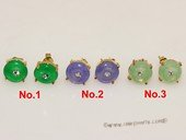 je022 Silver Tone Green  Donut Shape Gemstone Stud Earrings