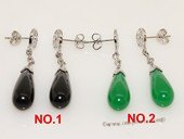 je023 Silver Tone  Eggplant Shape Gemstone Stud Earrings