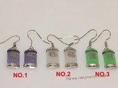 je029 Silver Tone  Chinese Theme Gemstone Earring