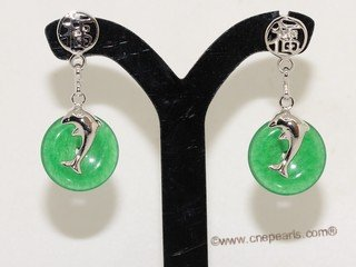 je031 Silver tone coin shape gemstone earring