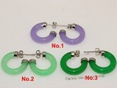 je032 Silver tone green color gemstone earring