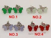 je033 Silver Tone Butterfly Design Gemstone Stud Earrings