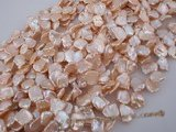 keshi027 11.5-12.5mm Pink cultured reborn pearl strand  in side-drilled