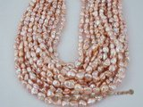 keshi031 Nature pink 6.5-7.5mm long-drill cultured keishi pearls strand