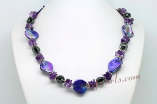 Lsn003 wholesale Rich Purple Color Shell and Amethyst Princess necklace