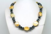 Lsn004 Hand Strung Black Seed Pearl Couture Style Necklace with Shell Bead