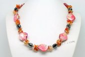 Lsn006 Agate Chip and Red Shell Bead Triple Strands Necklace