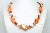 Lsn007 Cultured Potato Pearl Agate Fragments Cluster Necklace with Shell Beads