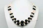 Lmpn005 Flexible Freshwater Potato Pearl and Black Agate Layer Necklace