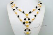 Lmpn006 Smart 6-7mm Potato Pearl and Color Gem Layer Necklace