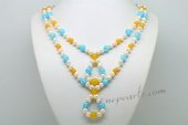 Lmpn007 Colorful 6-7mm Potato Pearl and Gemstone Layer Necklace
