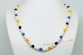 Lpn012 Designer White Potato Pearl and Gemstone Princess Necklace