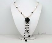 Lpn013 Hand Knotted 4-5mm Potato Plear and Agate Ball Necklace