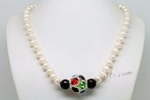 Lpn016 Trendy white Potato Pearl and Black Agate Princess Necklace