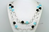 Lrpn010 Elegant Cultured Pearl and Crystal Beads Rope Link Necklace