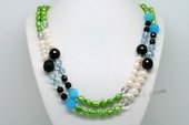 Lrpn017 Designer White and Green Pearl Rope Necklace with Crystal Beads