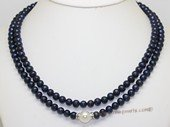 mpn404 Two Rows black Potato Pearl Necklace with Shell Pearl beads