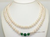 mpn405 Two Rows white Potato Pearl Necklace with green jade beads