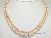 mpn406 Two Rows pink Rice Pearl Necklace with Shell Pearl beads