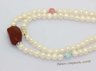 mpn407 double-strands potato pearl necklace with red agate pendant