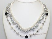 mpn408 Freshwater cultured pearl and gemston multi-strand necklace